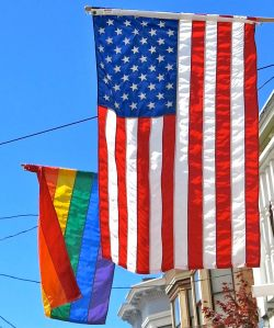 Rainbow and American flags